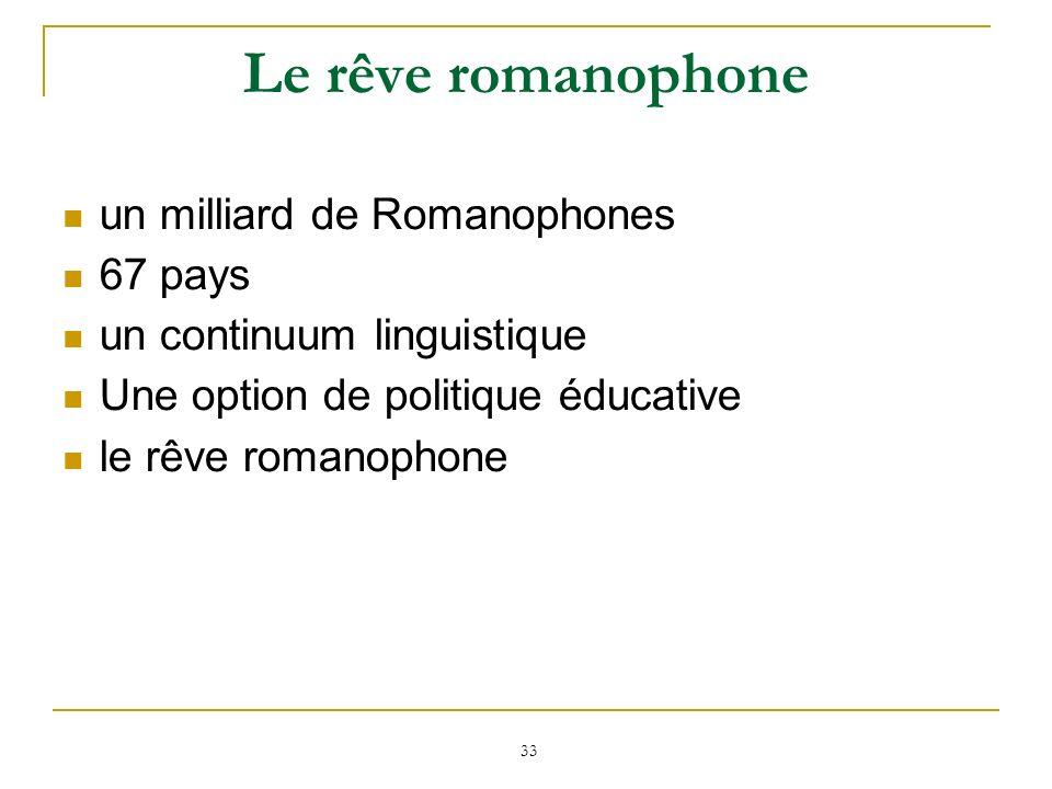 Le rêve romanophone un milliard de Romanophones 67 pays