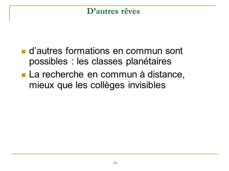d'autres formations en commun sont possibles : les classes planétaires