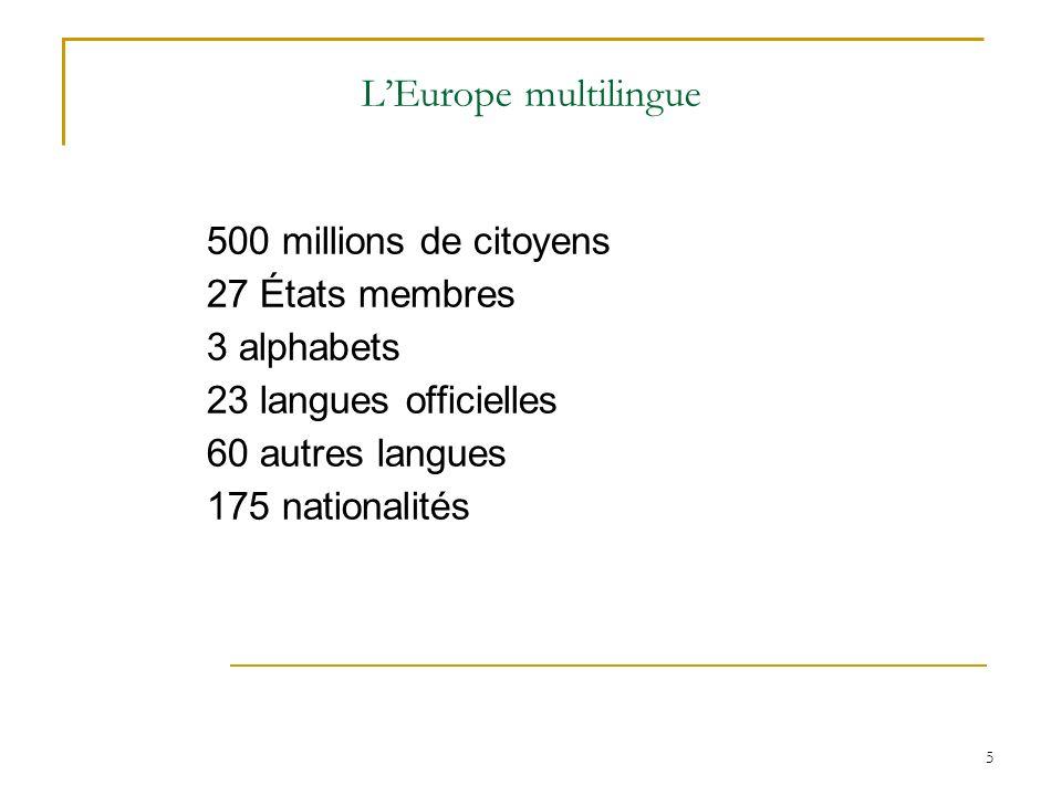L'Europe multilingue 500 millions de citoyens 27 États membres