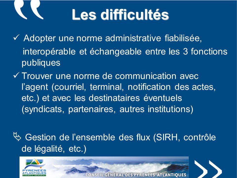 Les difficultés Adopter une norme administrative fiabilisée, interopérable et échangeable entre les 3 fonctions publiques.