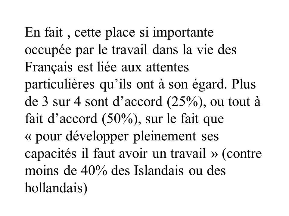 En fait , cette place si importante occupée par le travail dans la vie des Français est liée aux attentes particulières qu'ils ont à son égard.