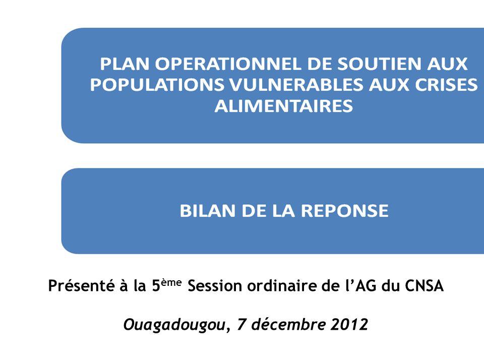 Présenté à la 5ème Session ordinaire de l'AG du CNSA Ouagadougou, 7 décembre 2012