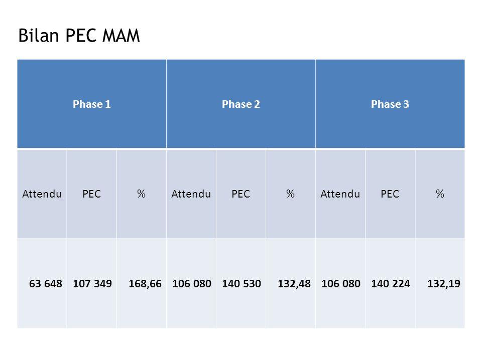 Bilan PEC MAM Phase 1 Phase 2 Phase 3 Attendu PEC % 63 648 107 349
