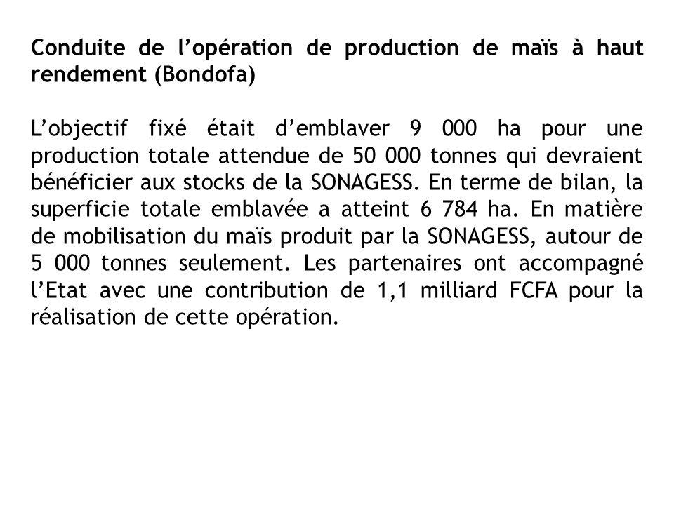 Conduite de l'opération de production de maïs à haut rendement (Bondofa)