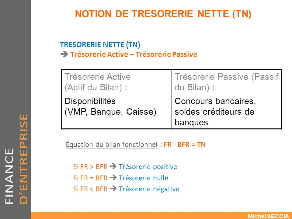 NOTION DE TRESORERIE NETTE (TN)