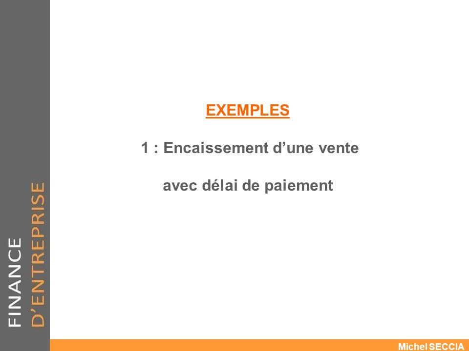 EXEMPLES 1 : Encaissement d'une vente avec délai de paiement