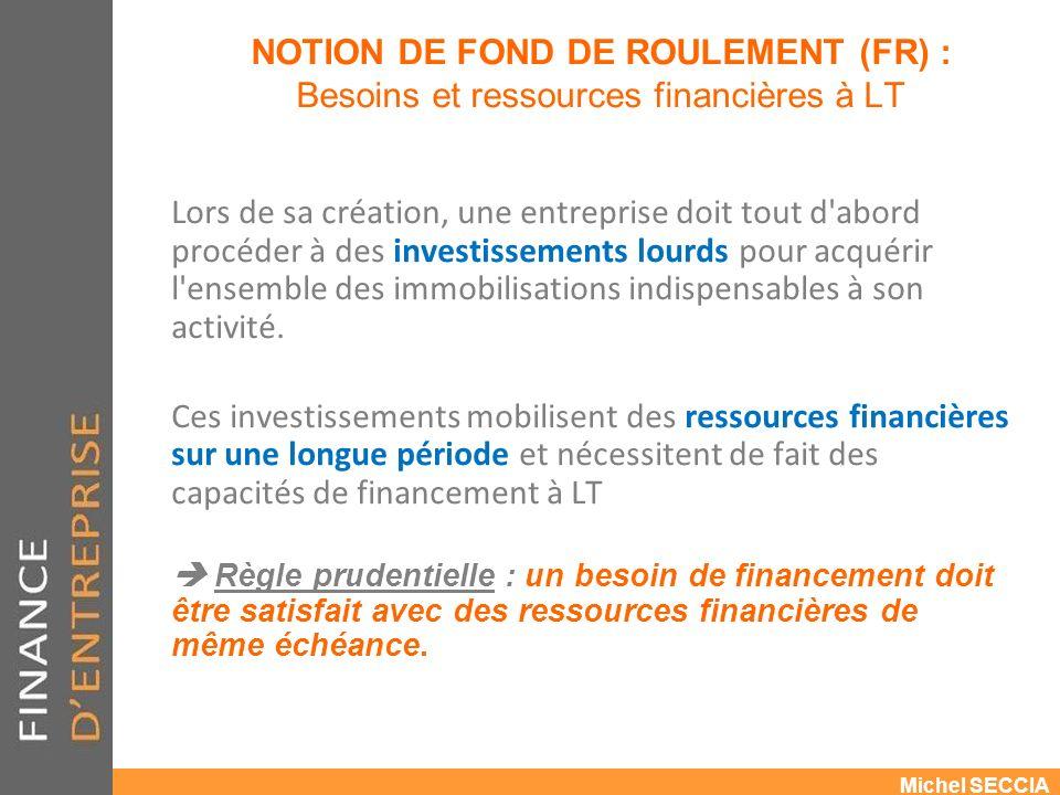 NOTION DE FOND DE ROULEMENT (FR) : Besoins et ressources financières à LT