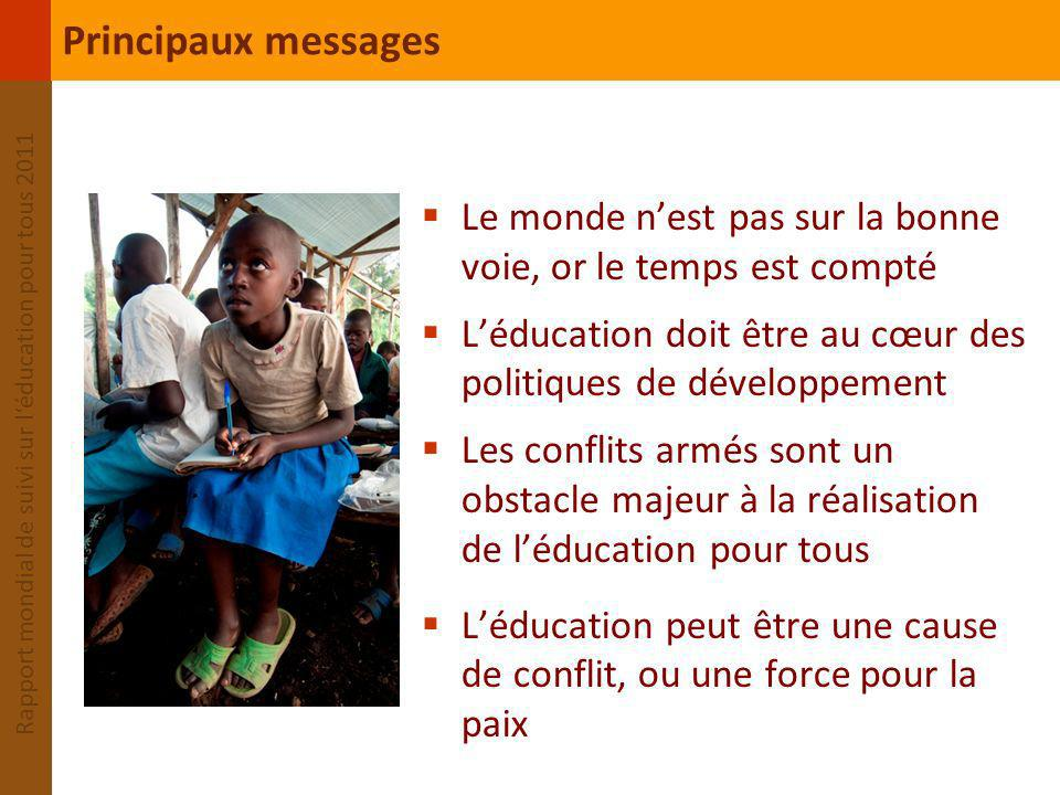 Principaux messages Le monde n'est pas sur la bonne voie, or le temps est compté. L'éducation doit être au cœur des politiques de développement.