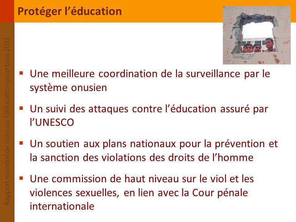 Protéger l'éducation Une meilleure coordination de la surveillance par le système onusien.