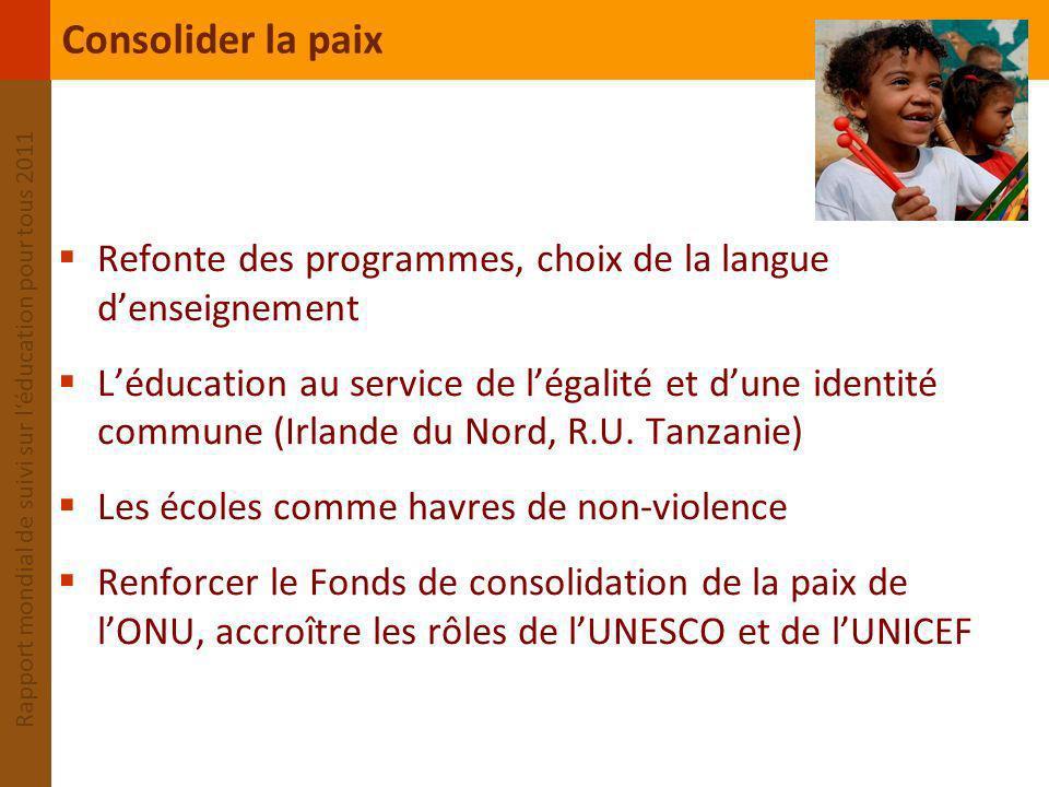 Consolider la paix Refonte des programmes, choix de la langue d'enseignement.