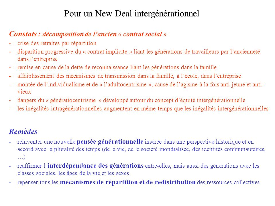 Pour un New Deal intergénérationnel