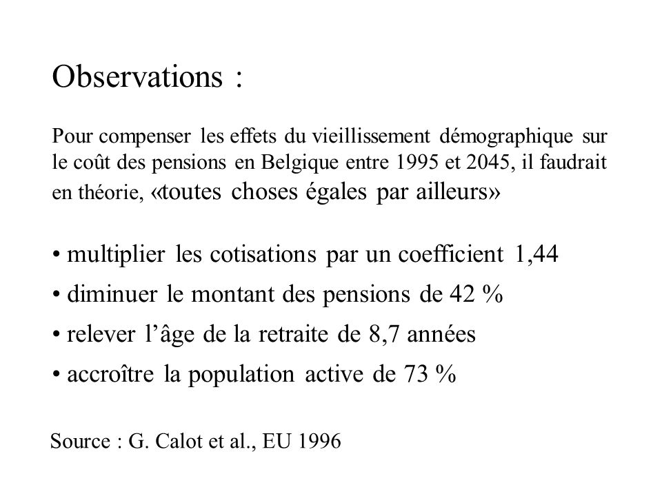 Observations : multiplier les cotisations par un coefficient 1,44