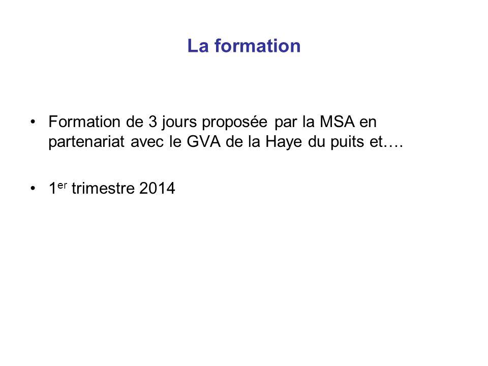 La formation Formation de 3 jours proposée par la MSA en partenariat avec le GVA de la Haye du puits et….