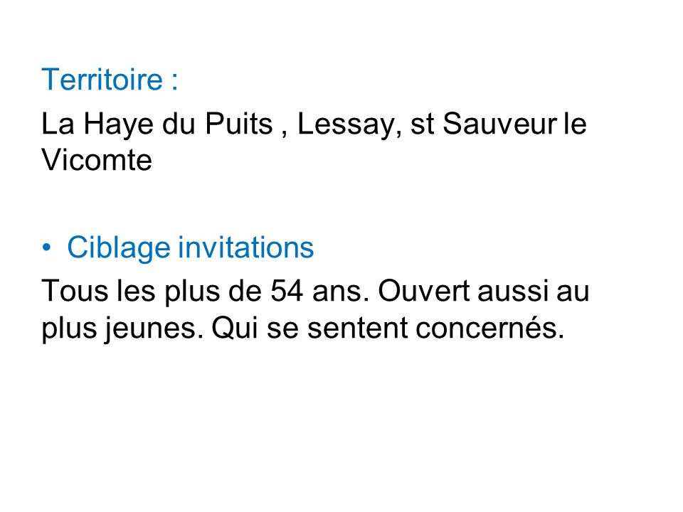 Territoire : La Haye du Puits , Lessay, st Sauveur le Vicomte. Ciblage invitations.