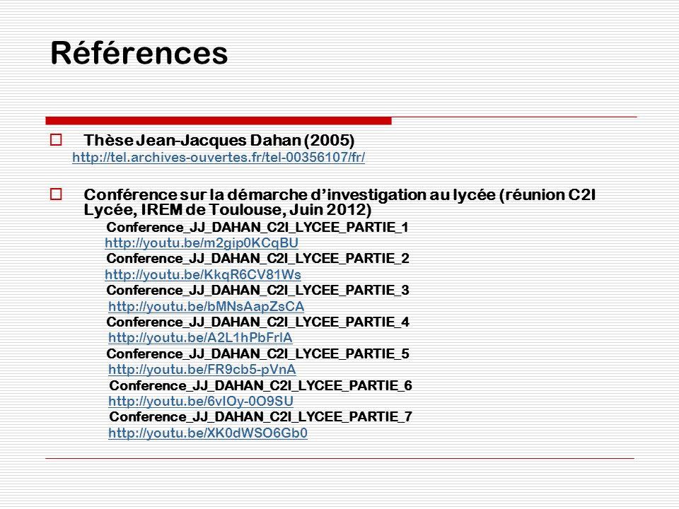 Références Thèse Jean-Jacques Dahan (2005)