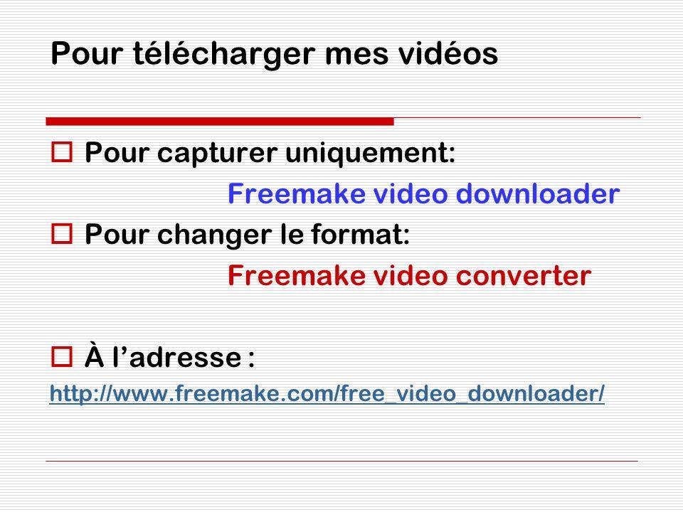 Pour télécharger mes vidéos