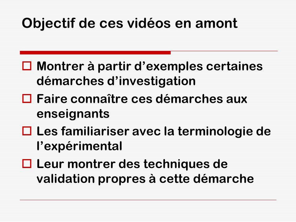 Objectif de ces vidéos en amont