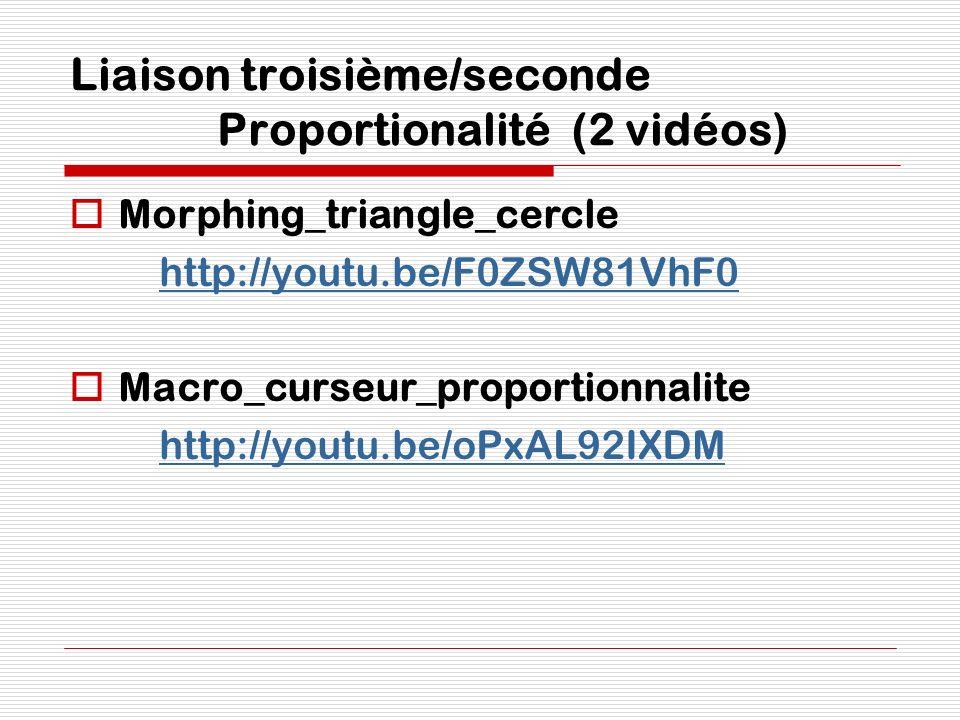 Liaison troisième/seconde Proportionalité (2 vidéos)