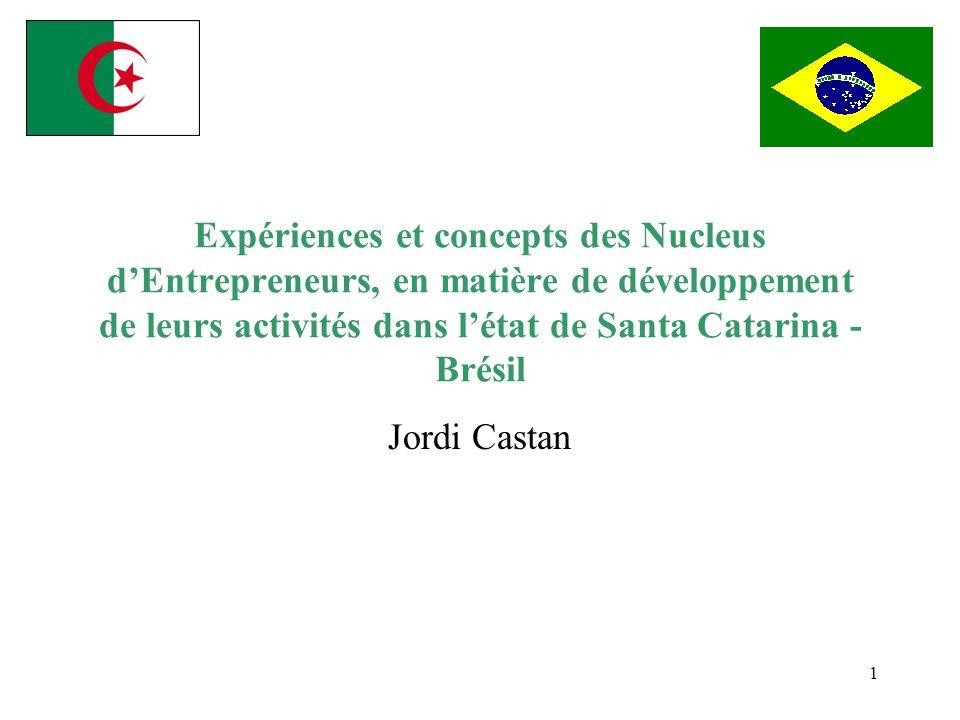 Expériences et concepts des Nucleus d'Entrepreneurs, en matière de développement de leurs activités dans l'état de Santa Catarina -Brésil