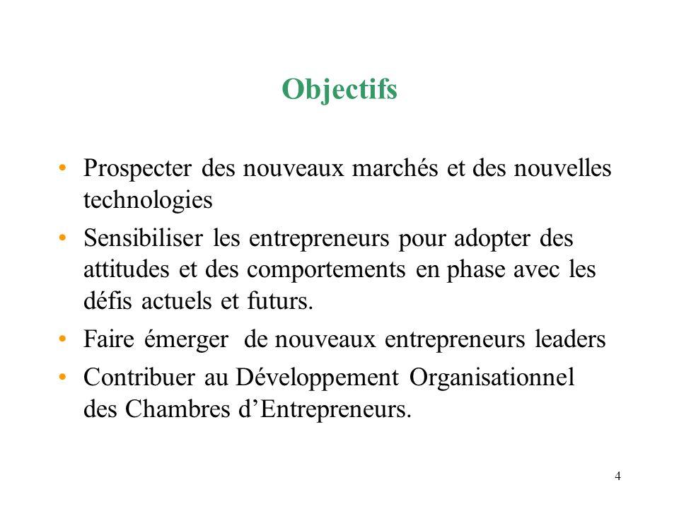 Objectifs Prospecter des nouveaux marchés et des nouvelles technologies.