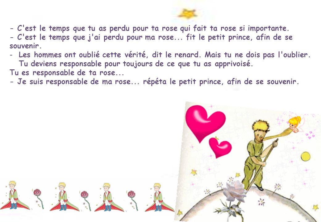 - C est le temps que tu as perdu pour ta rose qui fait ta rose si importante.