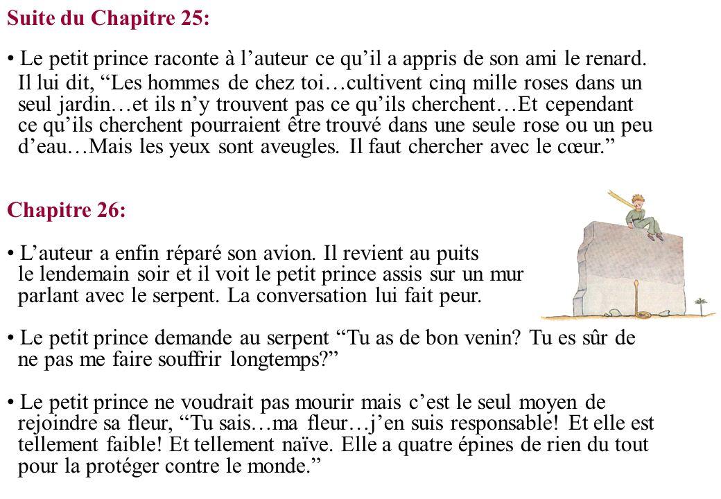 Suite du Chapitre 25: Le petit prince raconte à l'auteur ce qu'il a appris de son ami le renard.