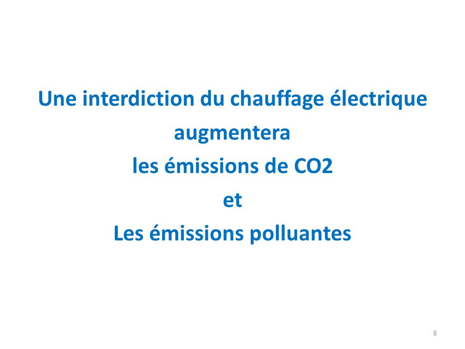 Une interdiction du chauffage électrique Les émissions polluantes