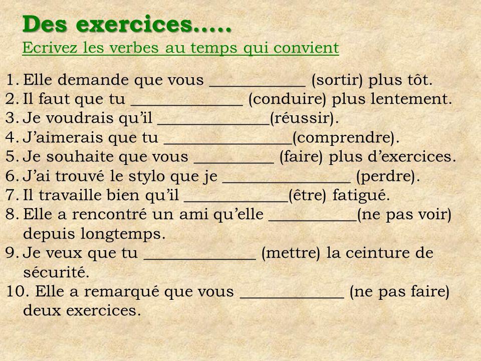 Des exercices….. Ecrivez les verbes au temps qui convient