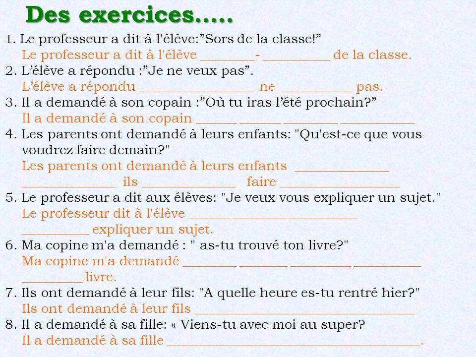 Des exercices….. 1. Le professeur a dit à l élève: Sors de la classe! Le professeur a dit à l élève ________- __________ de la classe.