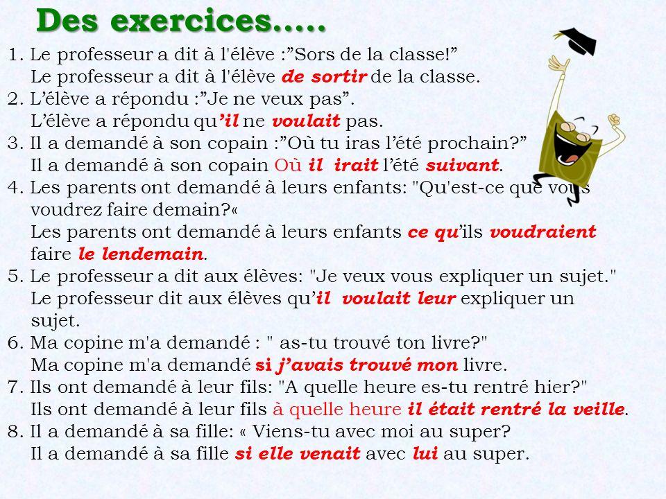 Des exercices….. 1. Le professeur a dit à l élève : Sors de la classe! Le professeur a dit à l élève de sortir de la classe.