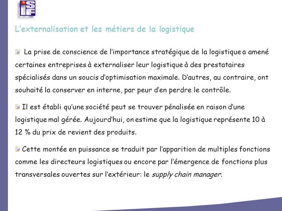 L'externalisation et les métiers de la logistique