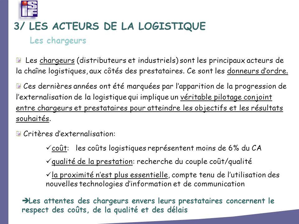 3/ LES ACTEURS DE LA LOGISTIQUE