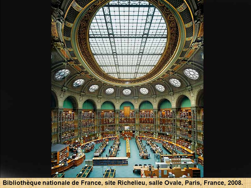 Bibliothèque nationale de France, site Richelieu, salle Ovale, Paris, France, 2008.