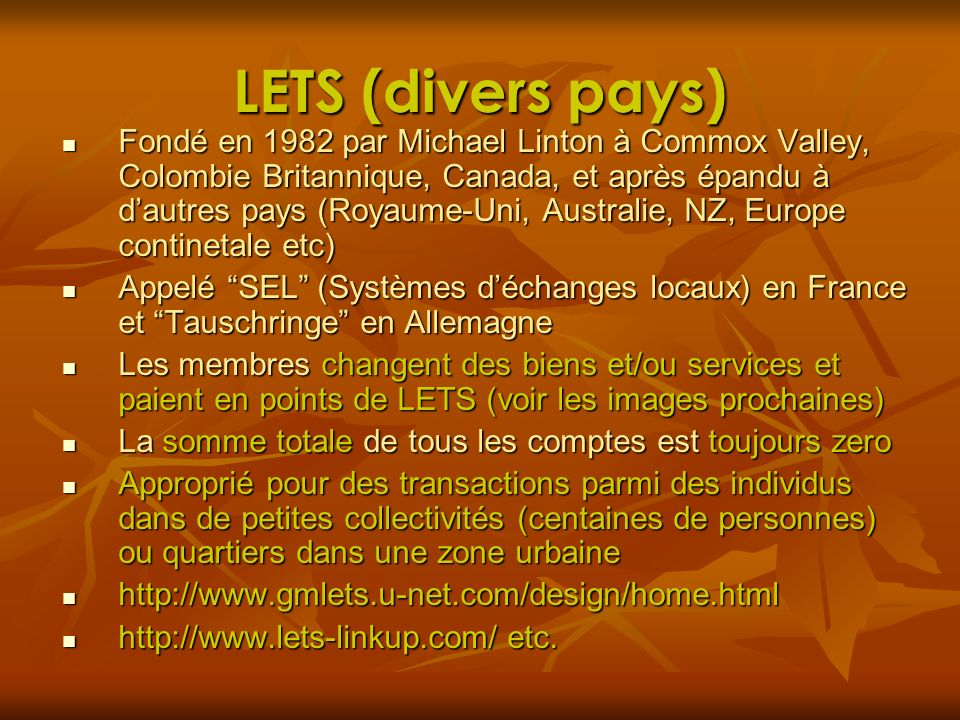 LETS (divers pays)