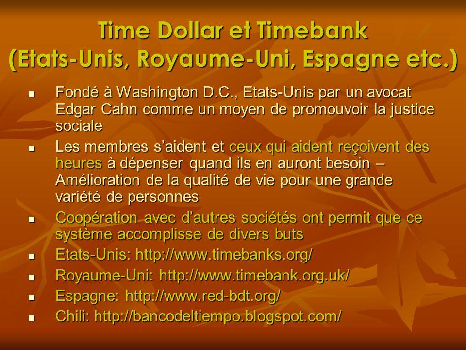 Time Dollar et Timebank (Etats-Unis, Royaume-Uni, Espagne etc.)