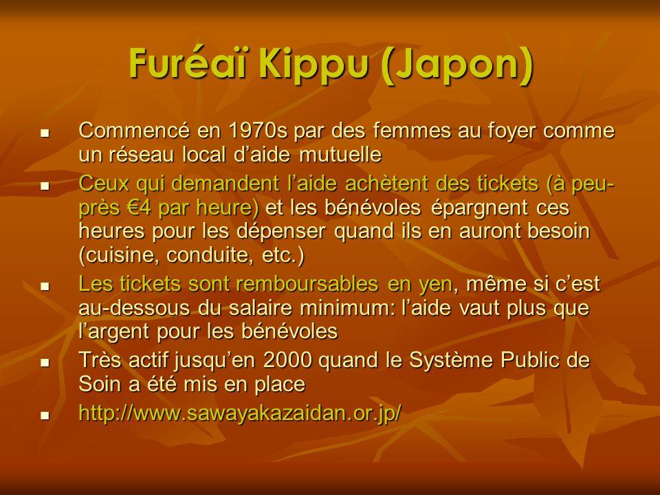 Furéaï Kippu (Japon) Commencé en 1970s par des femmes au foyer comme un réseau local d'aide mutuelle.