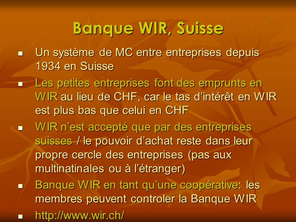 Banque WIR, Suisse Un système de MC entre entreprises depuis 1934 en Suisse.