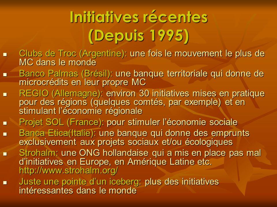 Initiatives récentes (Depuis 1995)