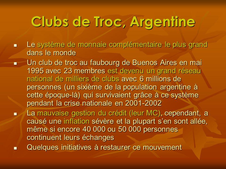 Clubs de Troc, Argentine