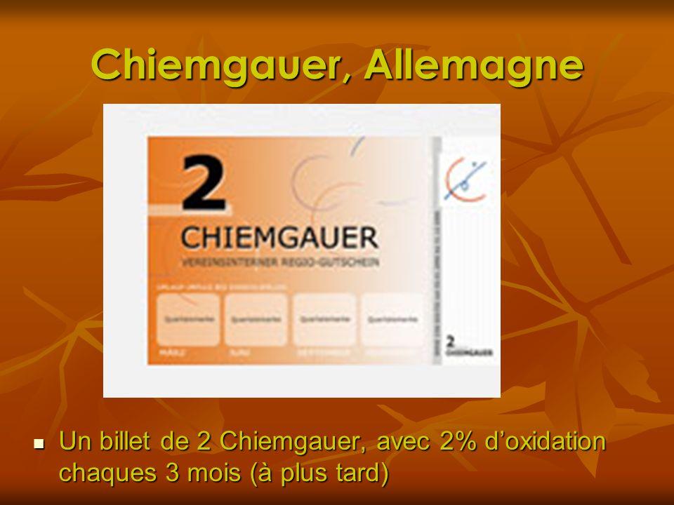 Chiemgauer, Allemagne Un billet de 2 Chiemgauer, avec 2% d'oxidation chaques 3 mois (à plus tard)