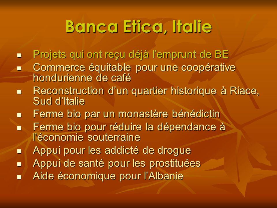 Banca Etica, Italie Projets qui ont reçu déjà l'emprunt de BE