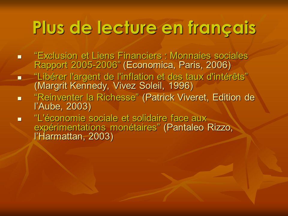 Plus de lecture en français