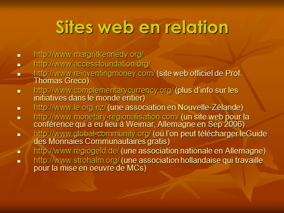 Sites web en relation http://www.margritkennedy.org/