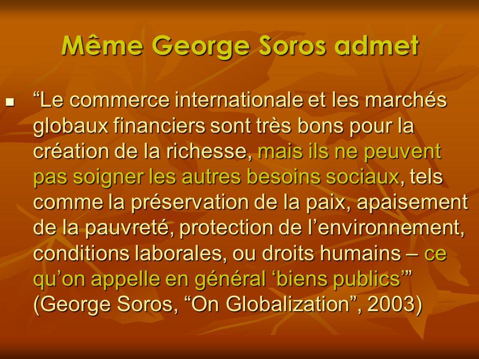 Même George Soros admet