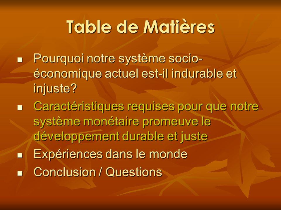 Table de Matières Pourquoi notre système socio-économique actuel est-il indurable et injuste