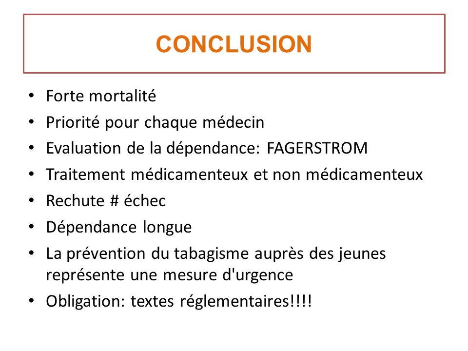 CONCLUSION Forte mortalité Priorité pour chaque médecin
