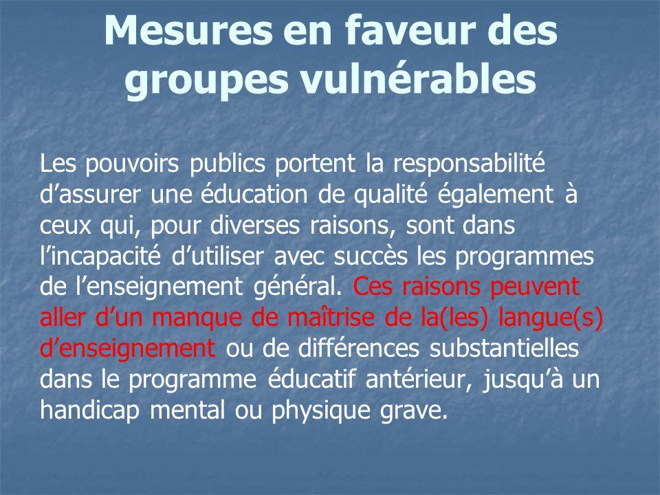 Mesures en faveur des groupes vulnérables
