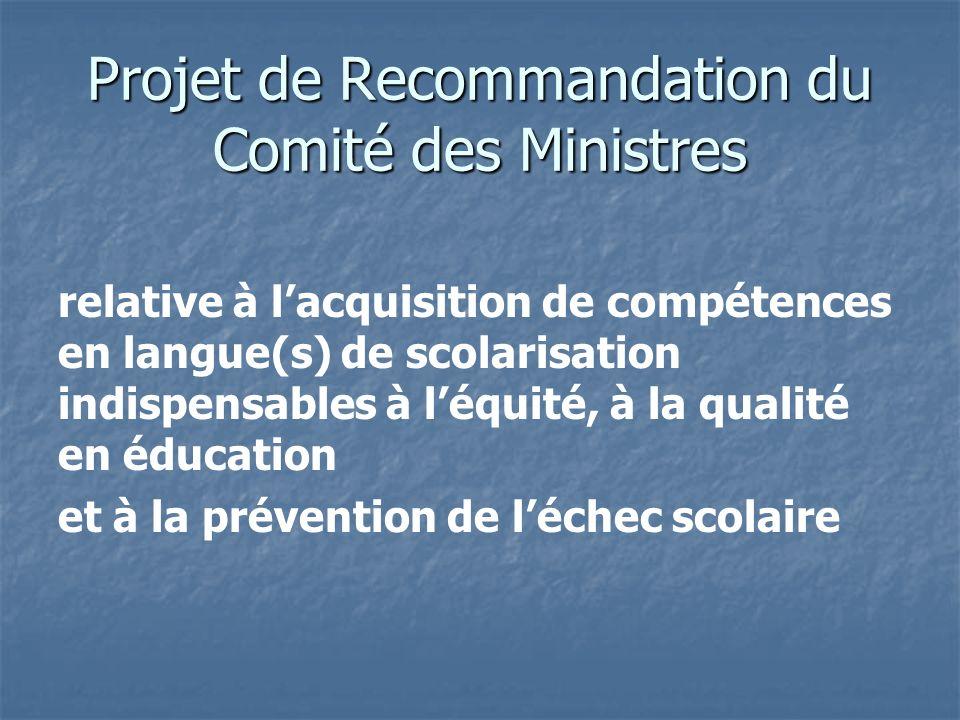 Projet de Recommandation du Comité des Ministres