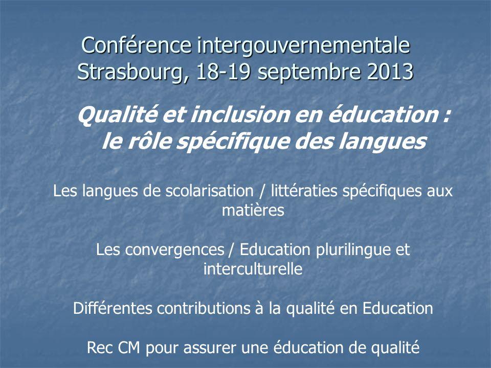 Conférence intergouvernementale Strasbourg, 18-19 septembre 2013