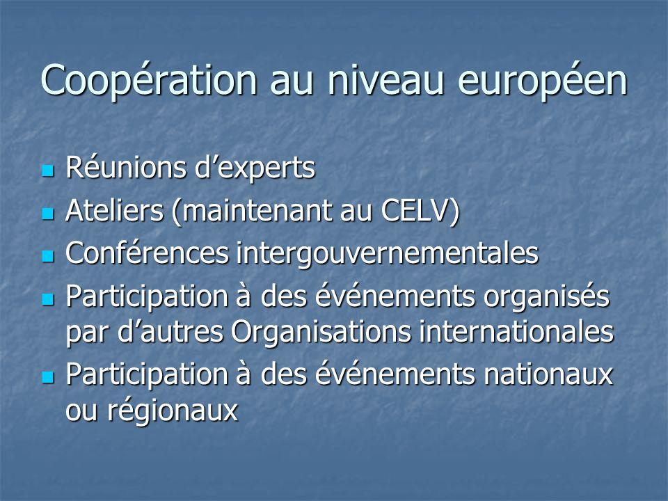 Coopération au niveau européen